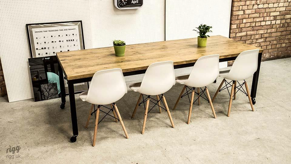 Modern Industrial Style Office Table on Castors