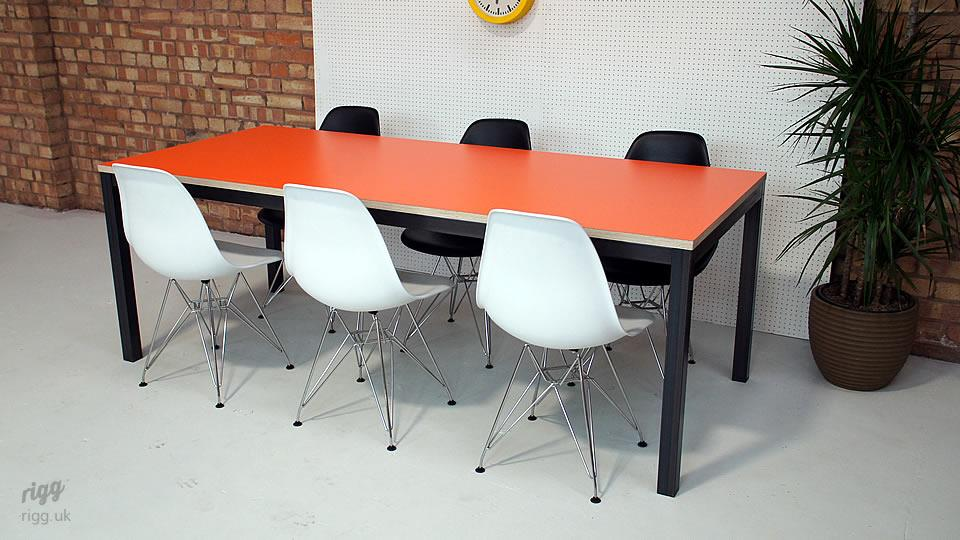 Office Table Birch Plywood Orange Laminate