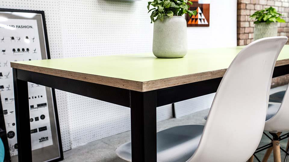 Office Table - Birch Plywood with Mint Green Top