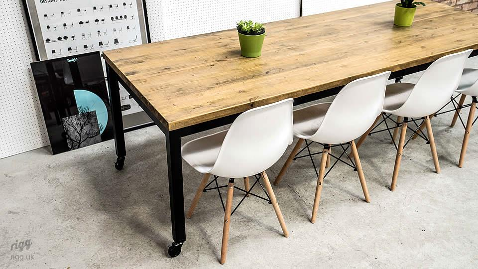 Office Table with Wood Top & Castors