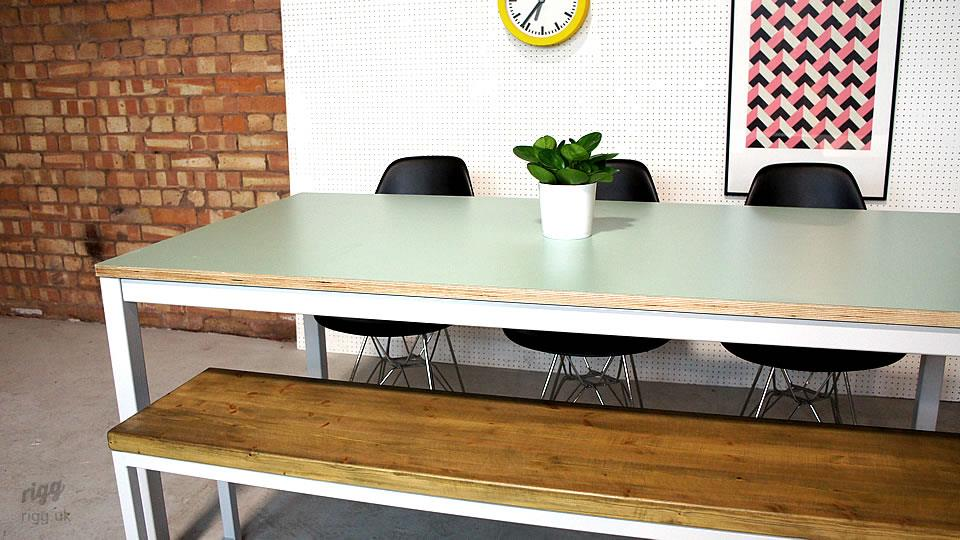 Pale Green Birch Plywood Table