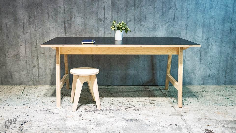 Plywood A-Frame Office Desk
