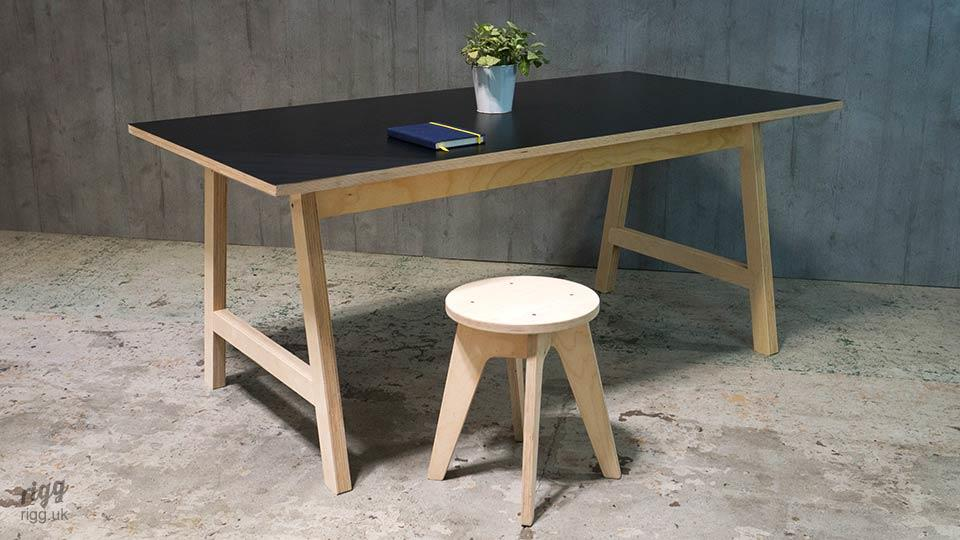Plywood Office Desk with Black Top