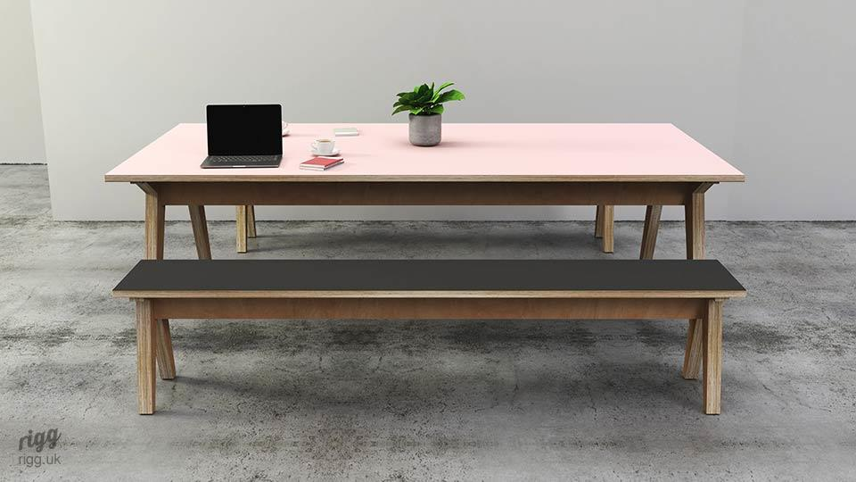 Plywood Office Table & Benches