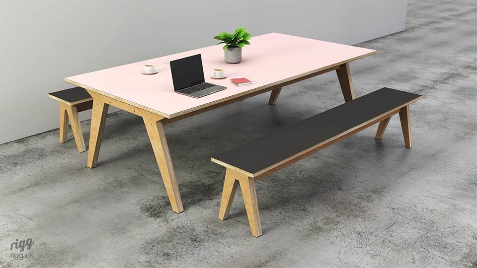 Plywood Table & Benches for Offices