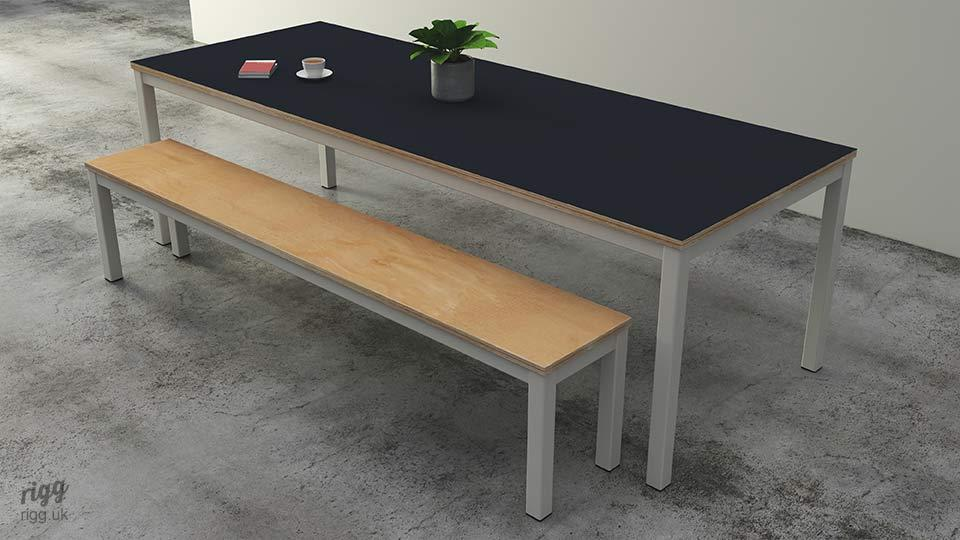 Quad Birch Plywood Office Table & Bench