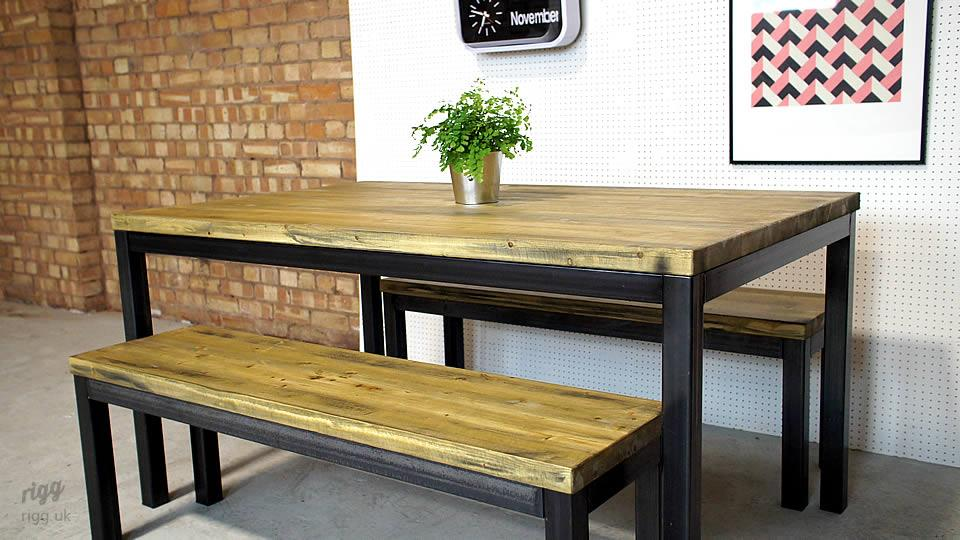 Quad Industrial Table and Benches