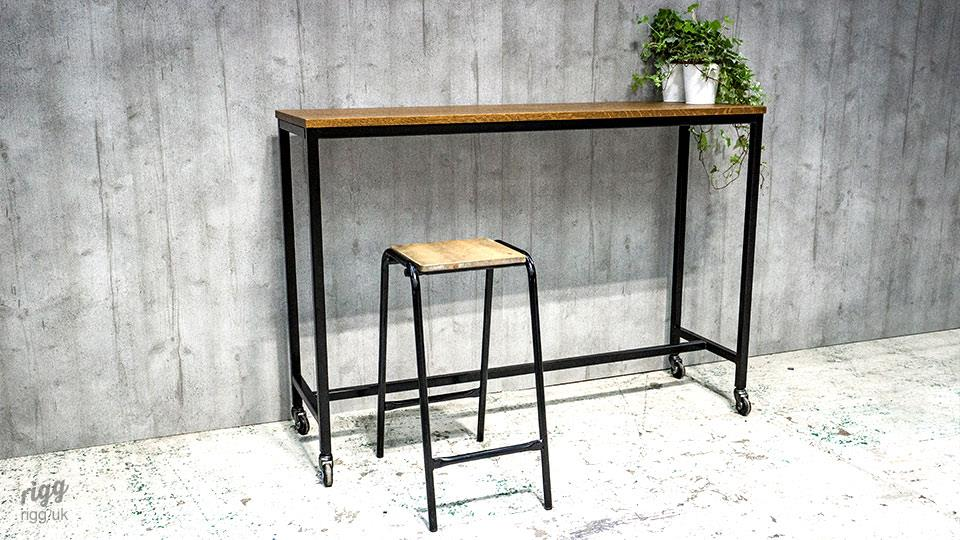 Slim frame high table with solid timber top