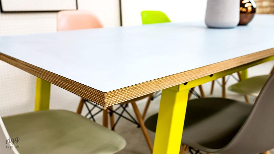 Stance Plus Table with Yellow Legs & Baby Blue Plywood Edge Top