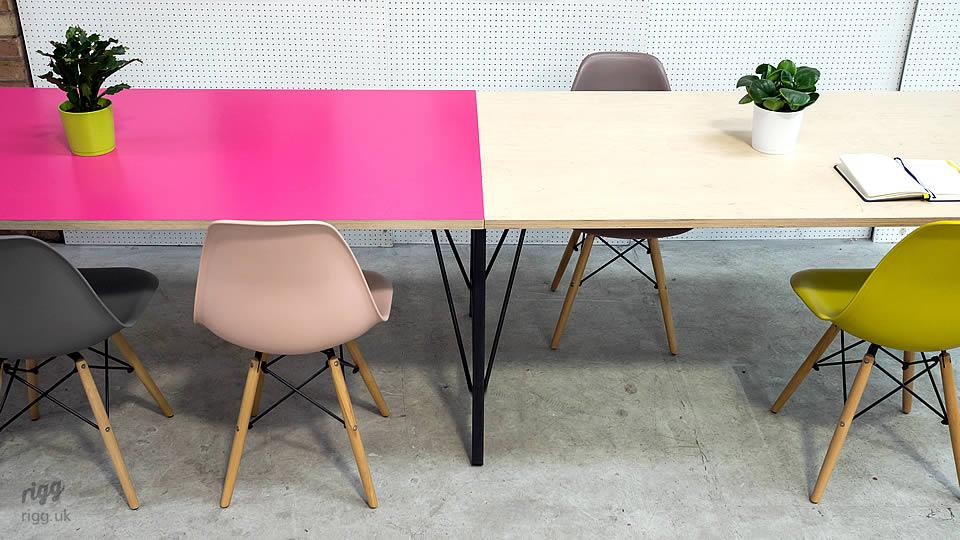 Trail Long Office Bench Birch Plywood & Pink HPL