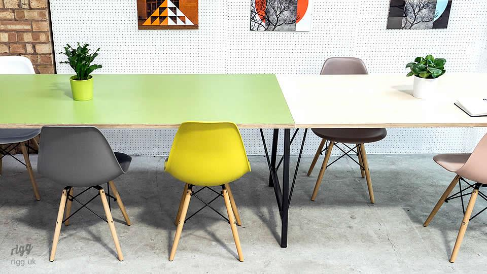 Trail Long Office Table Birch Plywood & Green Laminate
