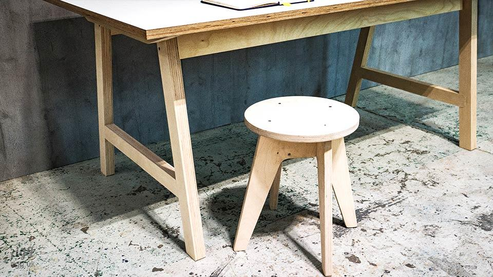 Trak Plywood A-frame Desk with Stool
