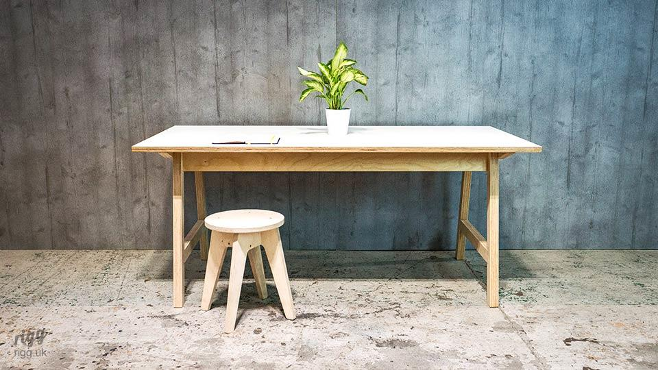 White Plywood Table for Meetings and Collaboration