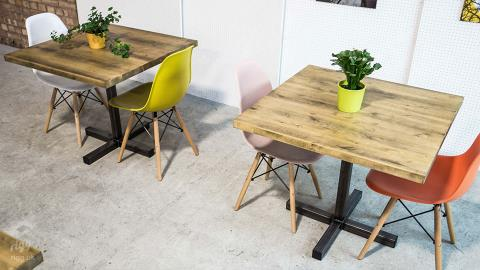 Square Wood Top Industrial Bistro Table