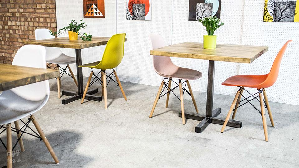 Cross Base Cafe Bistro Table with Wooden Top