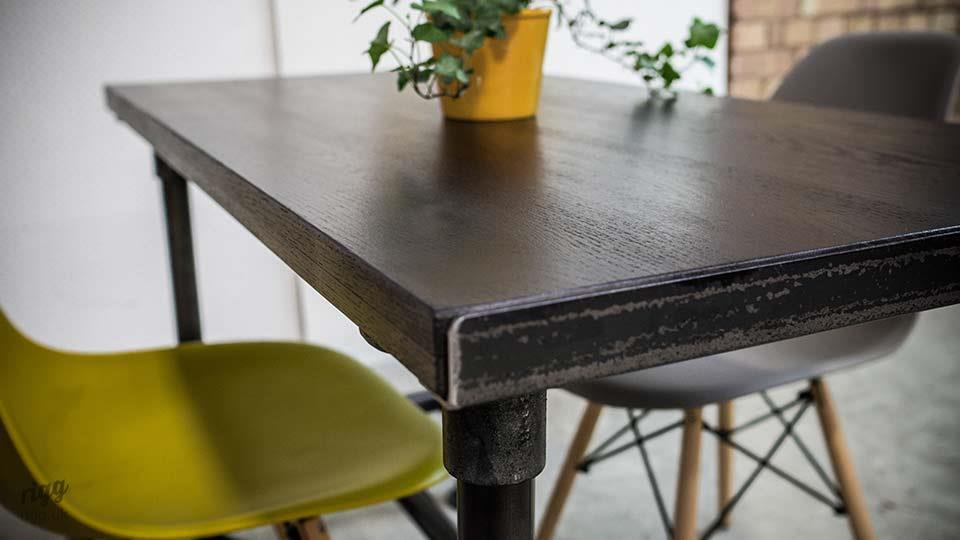 Industrial Metal Pipe Cafe Table with Black Oak Stained Top