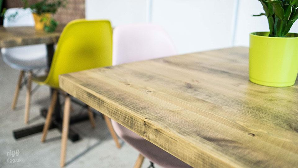 Rustic Wood Top Cafe Table