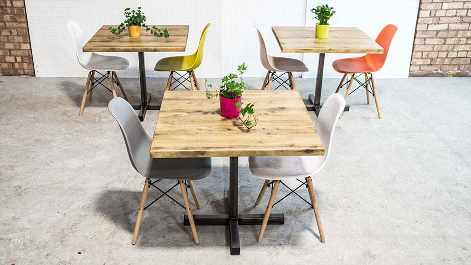 Small Wood Top, Metal Base Bistro Table