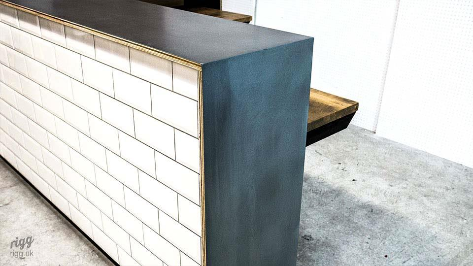 Bespoke Reception Desk Zinc & White Metro Tiles
