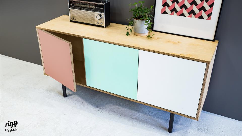 Birch Plywood Sideboard with Pastel Colour Doors