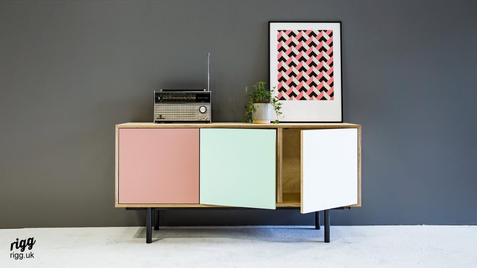 Contemporary Plywood Sideboard - Custom Coloured Doors