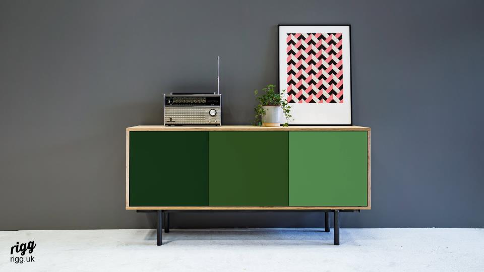 Kilo - Birch Plywood Sideboard, Green Doors