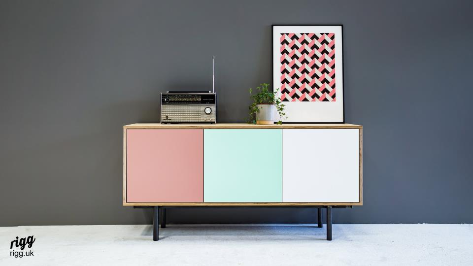 Modern Birch Plywood Sideboard - Pink, Mint & White