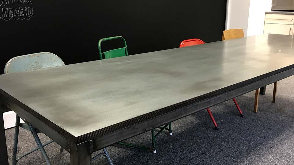 Breakout Table with Zinc Top