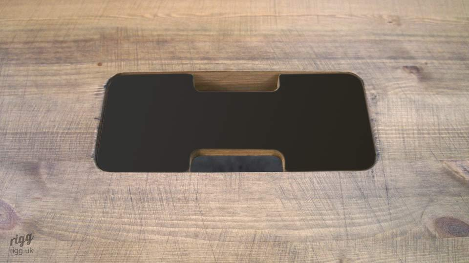 Cable Access Cover for Table - Laminate on Wood
