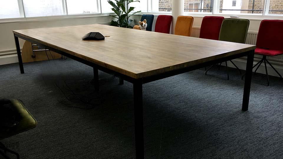 Large Industrial Office Table with Cable Management