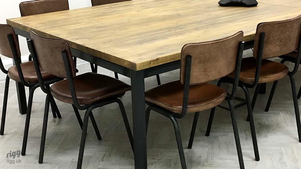 Large Metal & Wood Boardroom Table