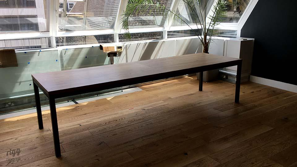 Large Simple Industrial Table Oak Top