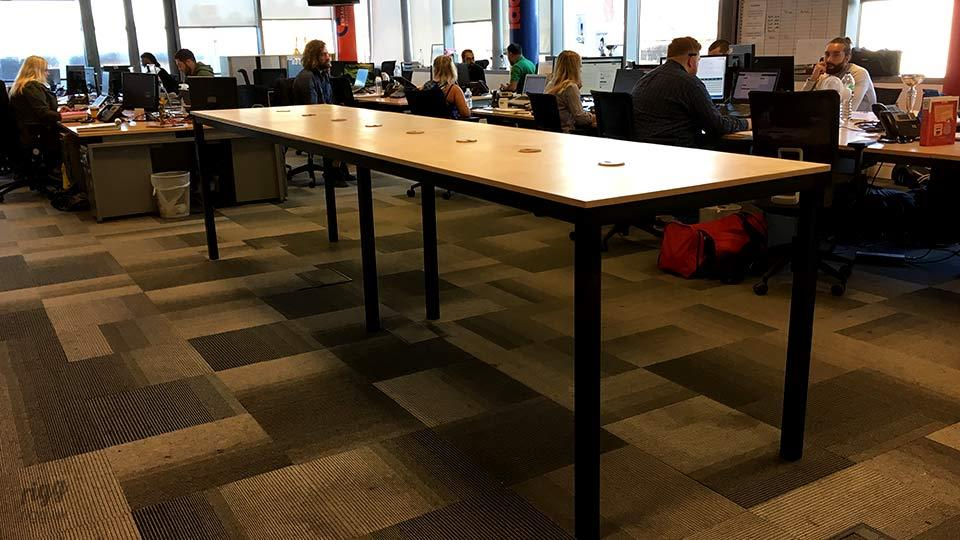 Long Collaboration Table with Cable Management in Office