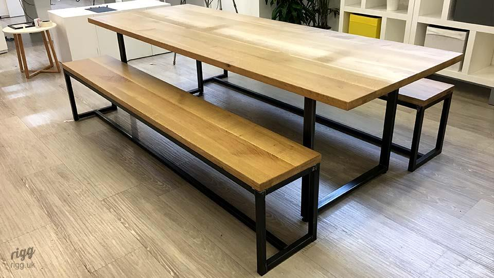Loop Contemporary Industrial Oak Table and Benches