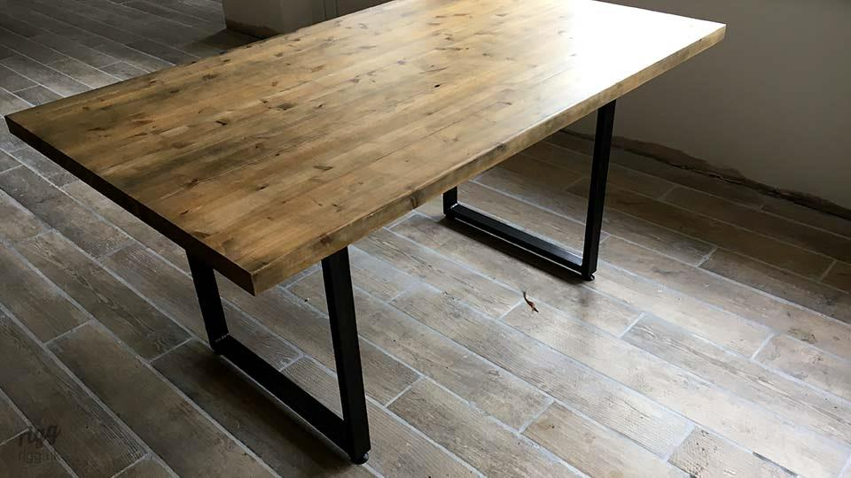 Loop Industrial Table with Wood Top