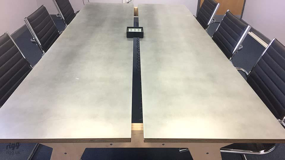 Plywood & Zinc Conference Table with Cable Management
