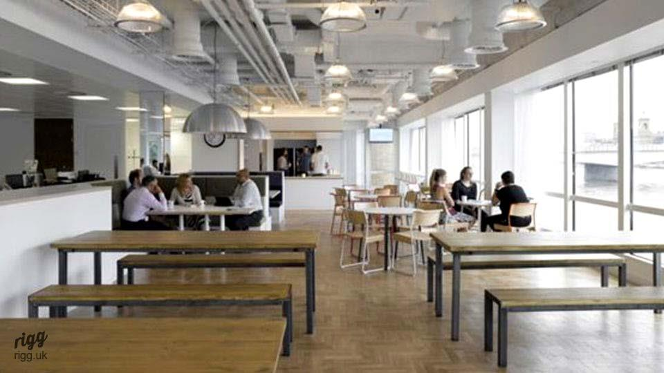 Quad Industrial Tables Workplace Breakout Area