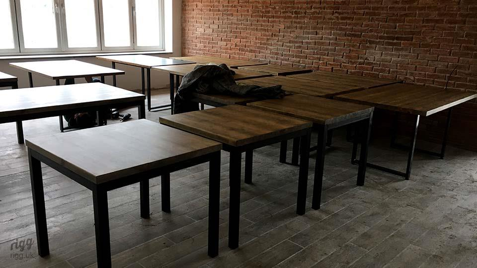 Quad Square Industrial Tables