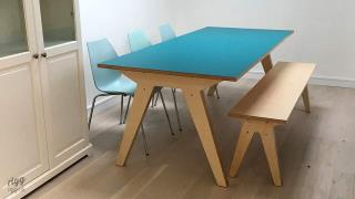 Synk Plywood Dining Table and Bench Turquoise