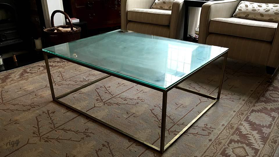 Brass and Glass Coffee Table in Living Room