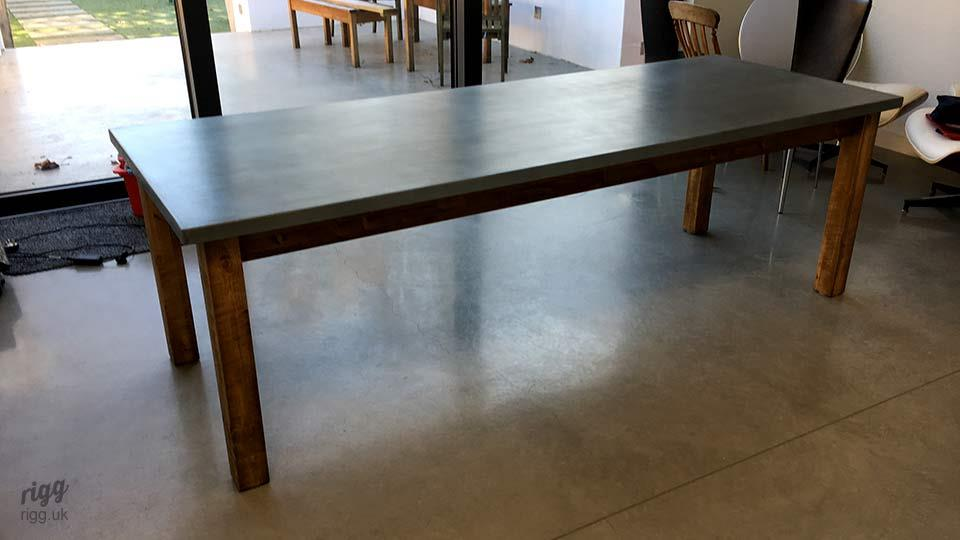 Classic Wooden Table with Zinc Top