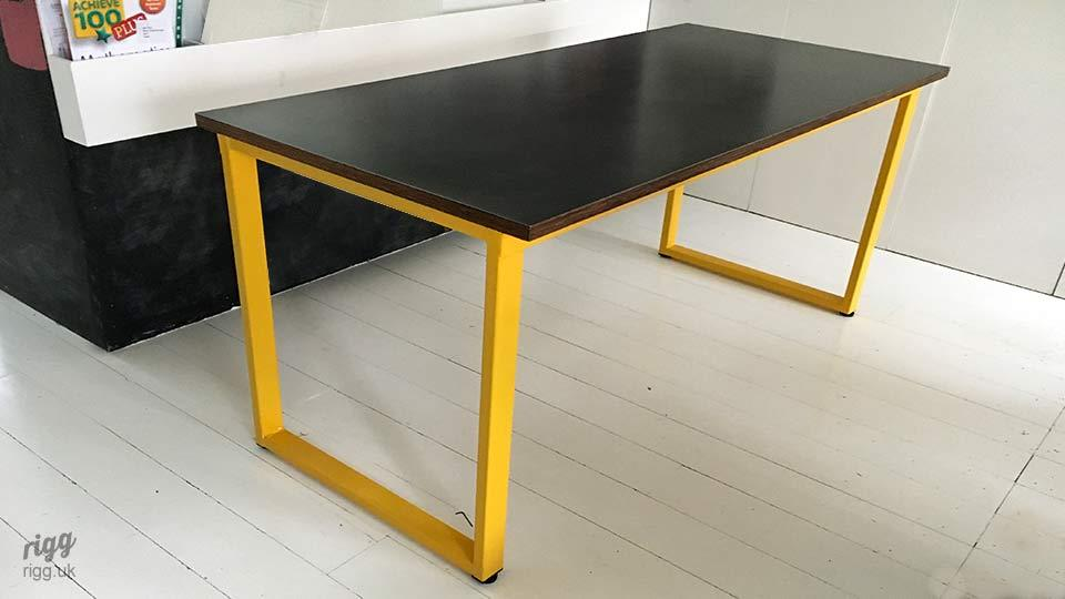 Contemporary Table with Zinc Top Yellow Legs
