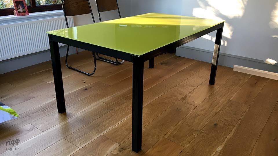 Glass Table with Yellow Top