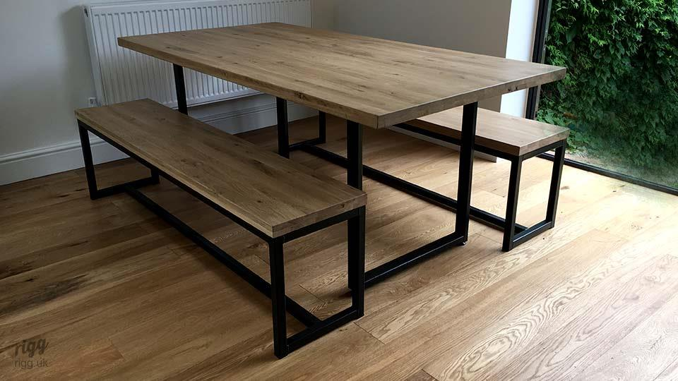 Industrial Dining Table & Benches