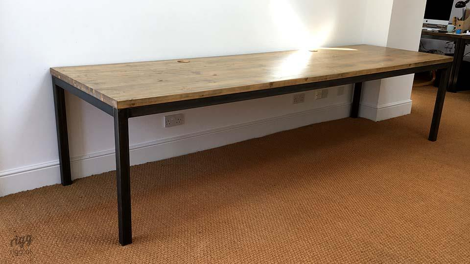 Large Wood & Metal Industrial Office Table