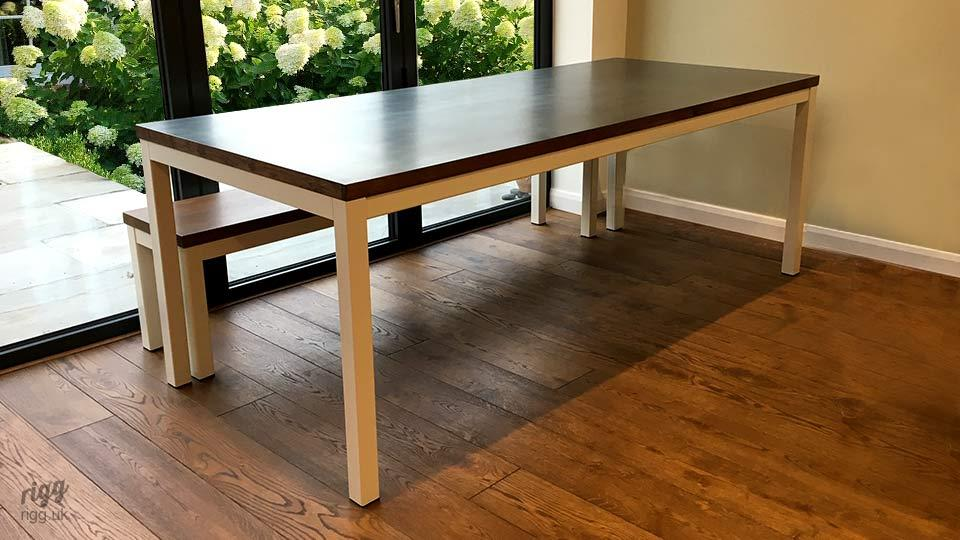 Modern Table & Bench with Zinc Top White Legs