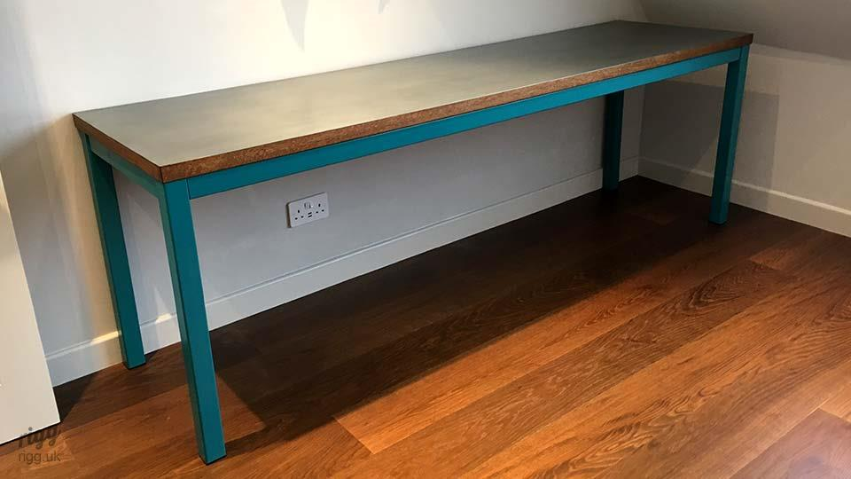 Quad Table - Zinc Top Oak Edge Turquoise Legs