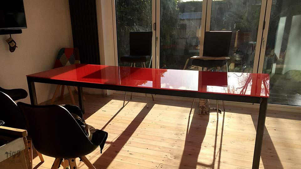 Red Glass Top Dining Table