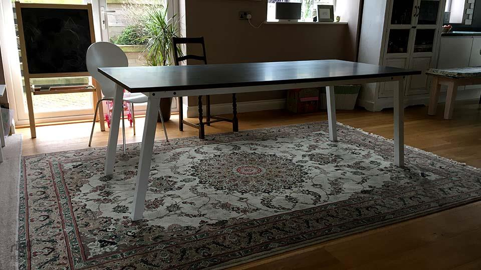 Stance Dining Table - Zinc Top with White Legs
