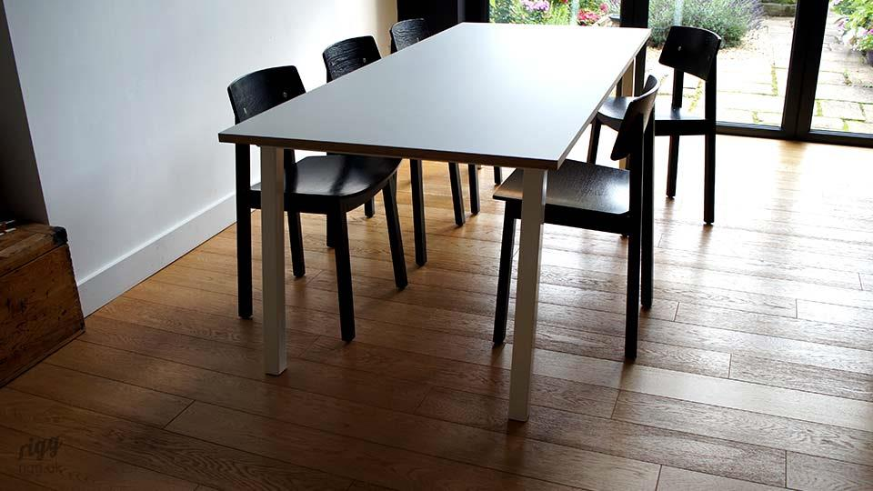 Stance Kitchen Dining Table - White Legs with Grey Formica Top & Formica Table